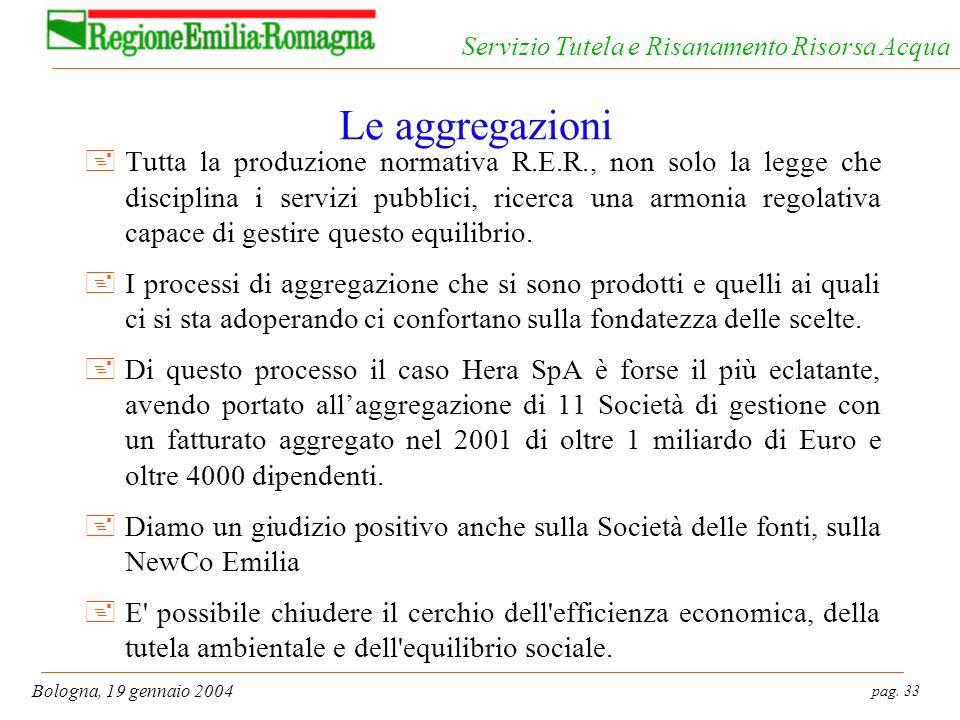 pag. 33 Bologna, 19 gennaio 2004 Servizio Tutela e Risanamento Risorsa Acqua Le aggregazioni +Tutta la produzione normativa R.E.R., non solo la legge