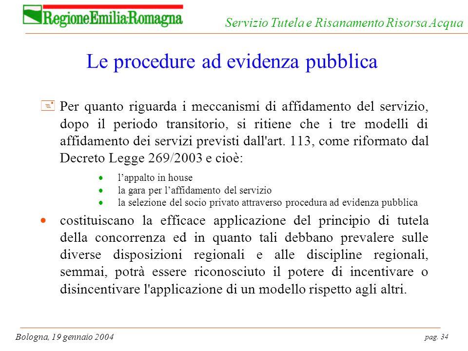 pag. 34 Bologna, 19 gennaio 2004 Servizio Tutela e Risanamento Risorsa Acqua Le procedure ad evidenza pubblica +Per quanto riguarda i meccanismi di af