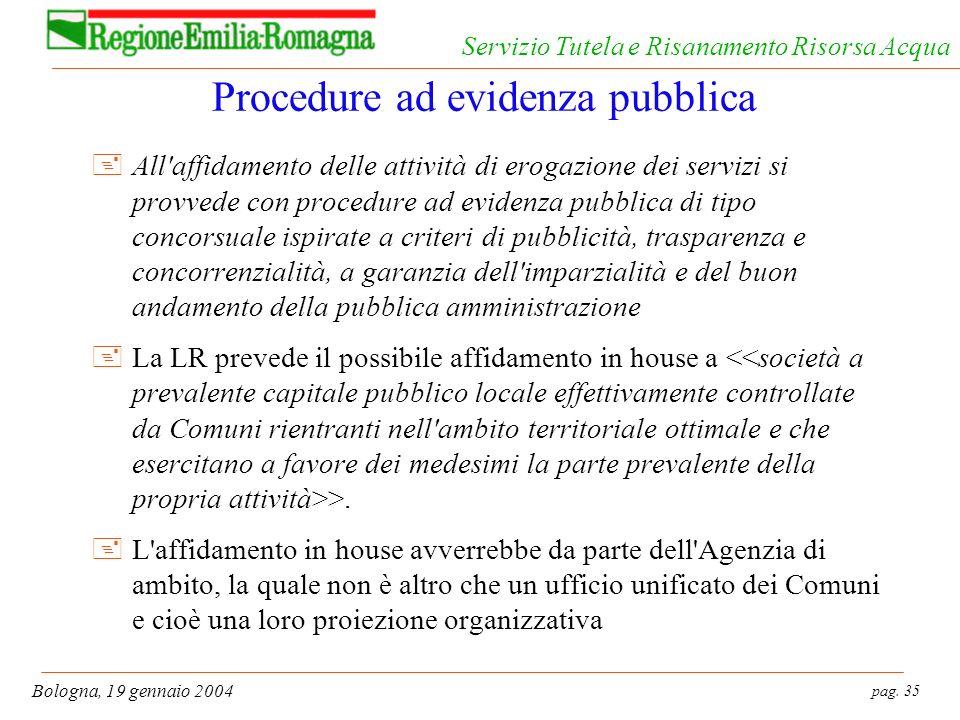 pag. 35 Bologna, 19 gennaio 2004 Servizio Tutela e Risanamento Risorsa Acqua Procedure ad evidenza pubblica +All'affidamento delle attività di erogazi