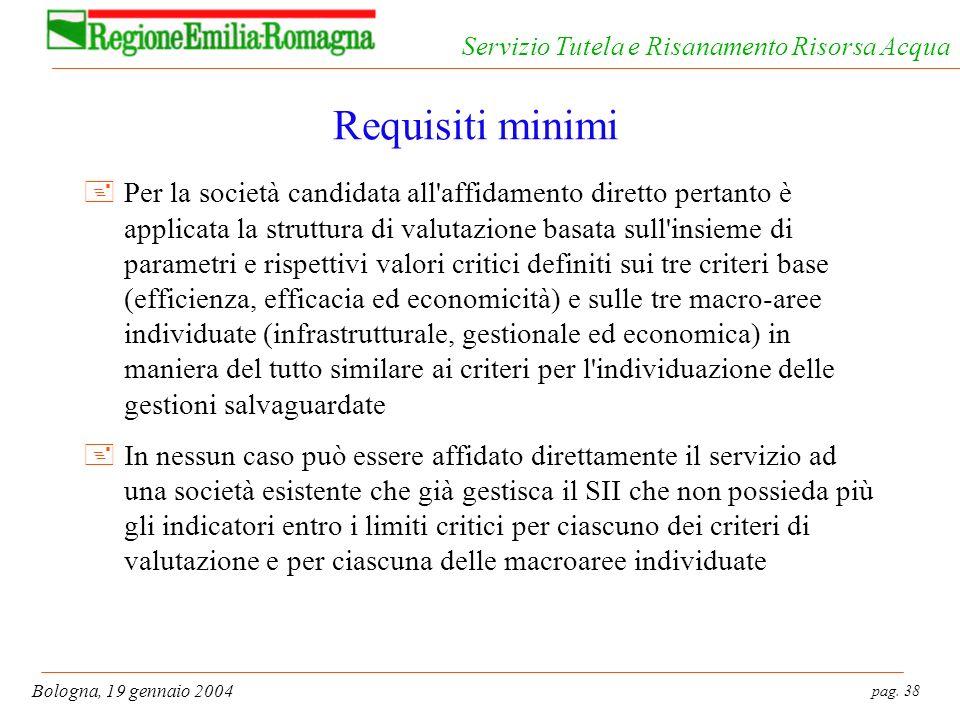 pag. 38 Bologna, 19 gennaio 2004 Servizio Tutela e Risanamento Risorsa Acqua Requisiti minimi +Per la società candidata all'affidamento diretto pertan