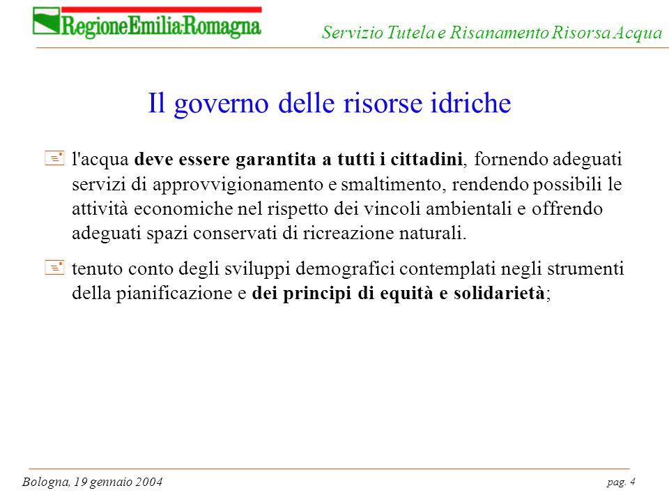 pag. 4 Bologna, 19 gennaio 2004 Servizio Tutela e Risanamento Risorsa Acqua Il governo delle risorse idriche +l'acqua deve essere garantita a tutti i
