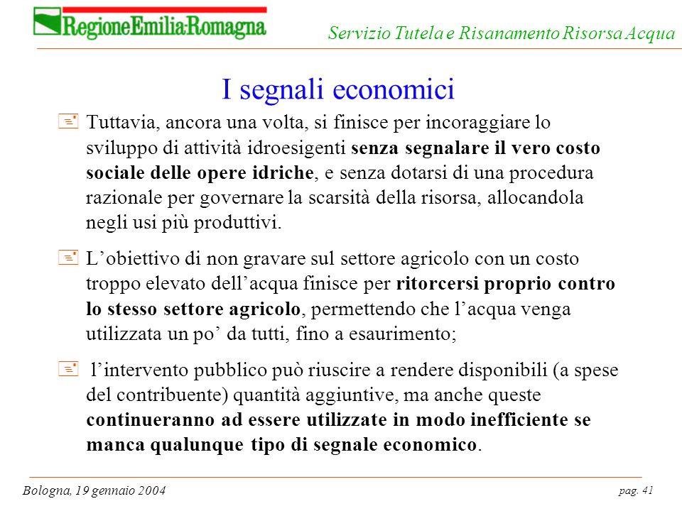 pag. 41 Bologna, 19 gennaio 2004 Servizio Tutela e Risanamento Risorsa Acqua I segnali economici +Tuttavia, ancora una volta, si finisce per incoraggi