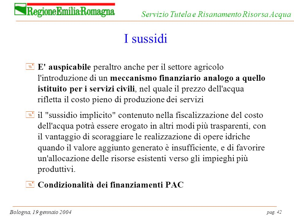 pag. 42 Bologna, 19 gennaio 2004 Servizio Tutela e Risanamento Risorsa Acqua I sussidi +E' auspicabile peraltro anche per il settore agricolo l'introd