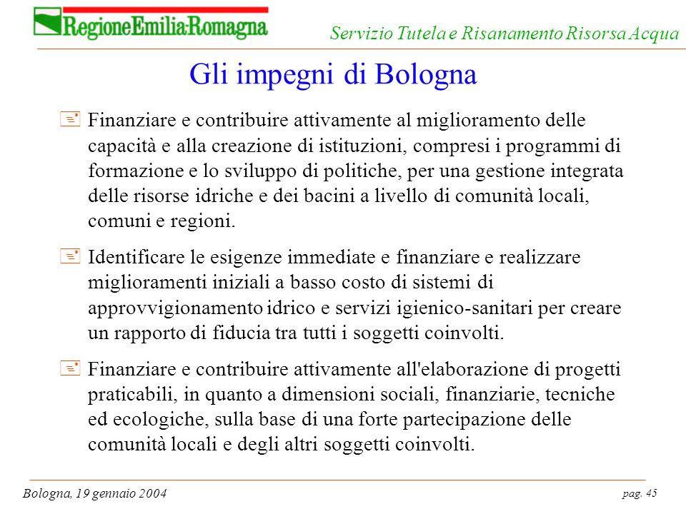 pag. 45 Bologna, 19 gennaio 2004 Servizio Tutela e Risanamento Risorsa Acqua Gli impegni di Bologna +Finanziare e contribuire attivamente al miglioram