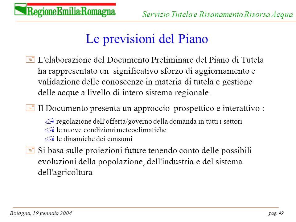 pag. 49 Bologna, 19 gennaio 2004 Servizio Tutela e Risanamento Risorsa Acqua Le previsioni del Piano +L'elaborazione del Documento Preliminare del Pia