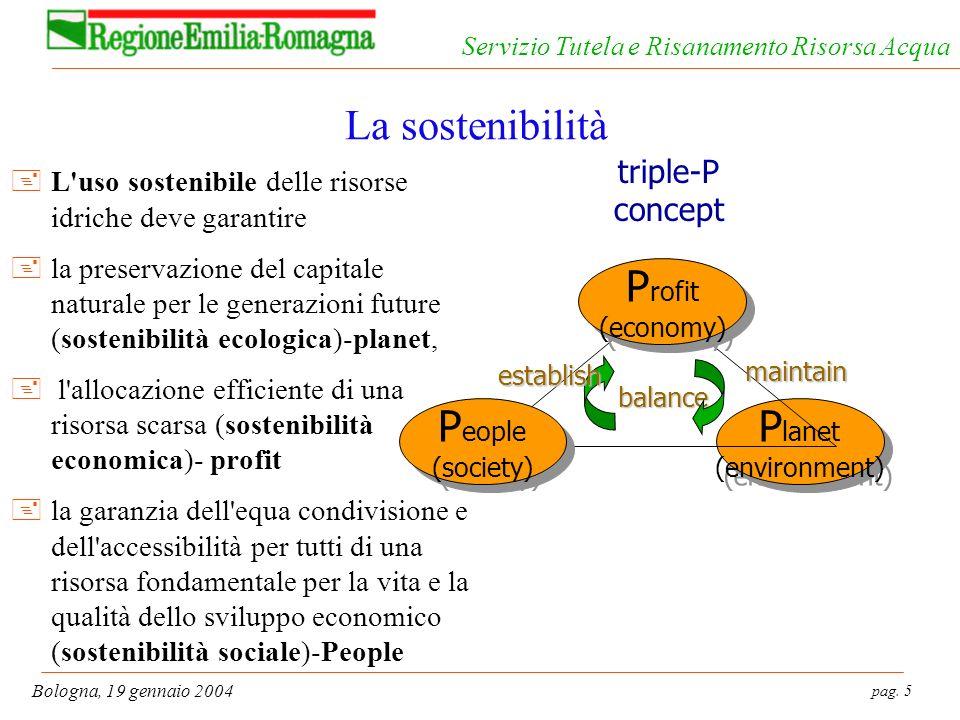 pag. 5 Bologna, 19 gennaio 2004 Servizio Tutela e Risanamento Risorsa Acqua La sostenibilità +L'uso sostenibile delle risorse idriche deve garantire +