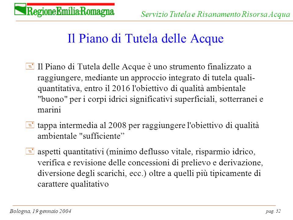 pag. 52 Bologna, 19 gennaio 2004 Servizio Tutela e Risanamento Risorsa Acqua Il Piano di Tutela delle Acque +Il Piano di Tutela delle Acque è uno stru