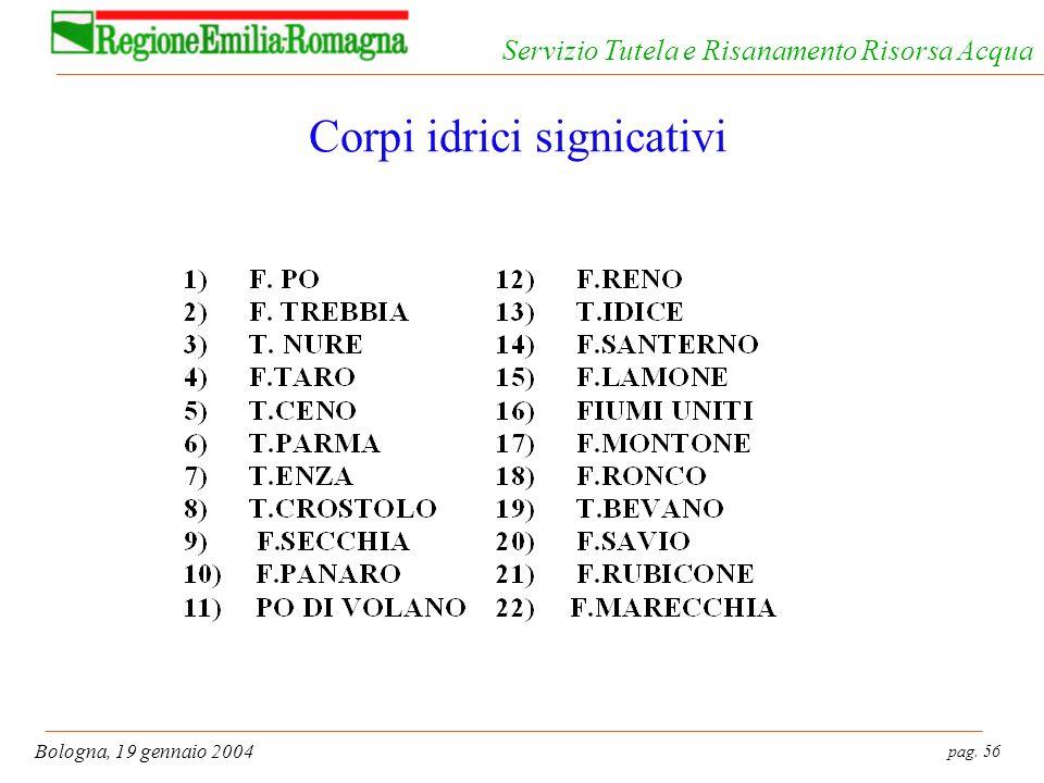 pag. 56 Bologna, 19 gennaio 2004 Servizio Tutela e Risanamento Risorsa Acqua Corpi idrici signicativi