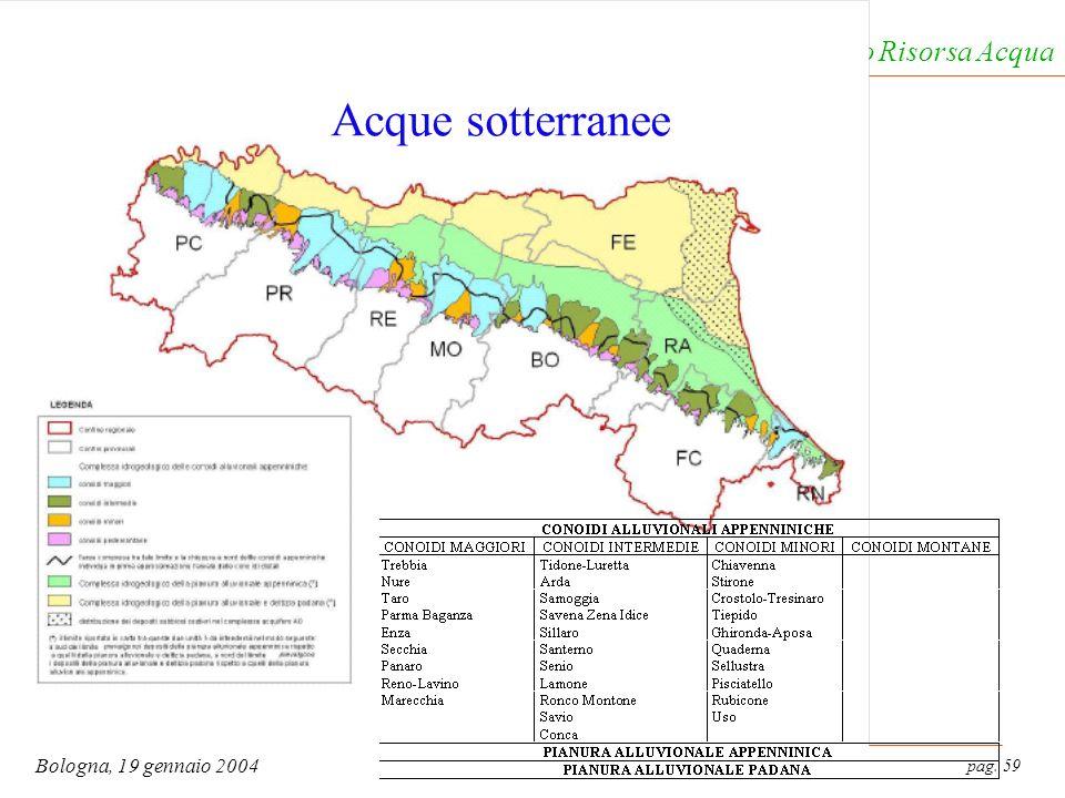 pag. 59 Bologna, 19 gennaio 2004 Servizio Tutela e Risanamento Risorsa Acqua Acque sotterranee