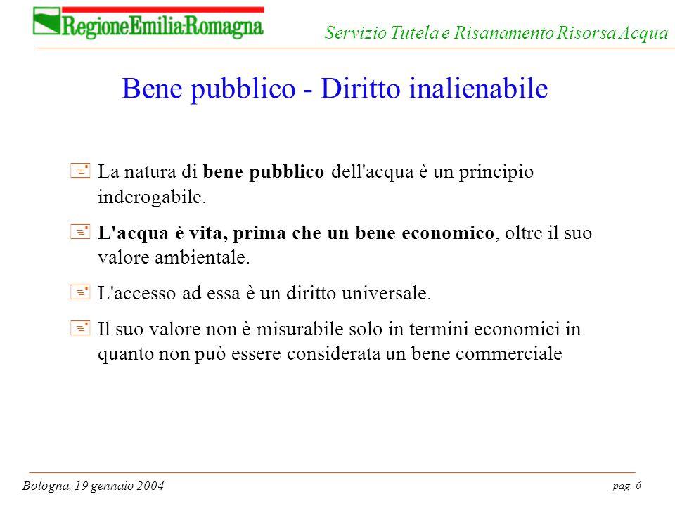 pag. 6 Bologna, 19 gennaio 2004 Servizio Tutela e Risanamento Risorsa Acqua Bene pubblico - Diritto inalienabile +La natura di bene pubblico dell'acqu