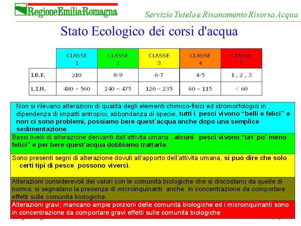 pag. 64 Bologna, 19 gennaio 2004 Servizio Tutela e Risanamento Risorsa Acqua Stato Ecologico dei corsi d'acqua