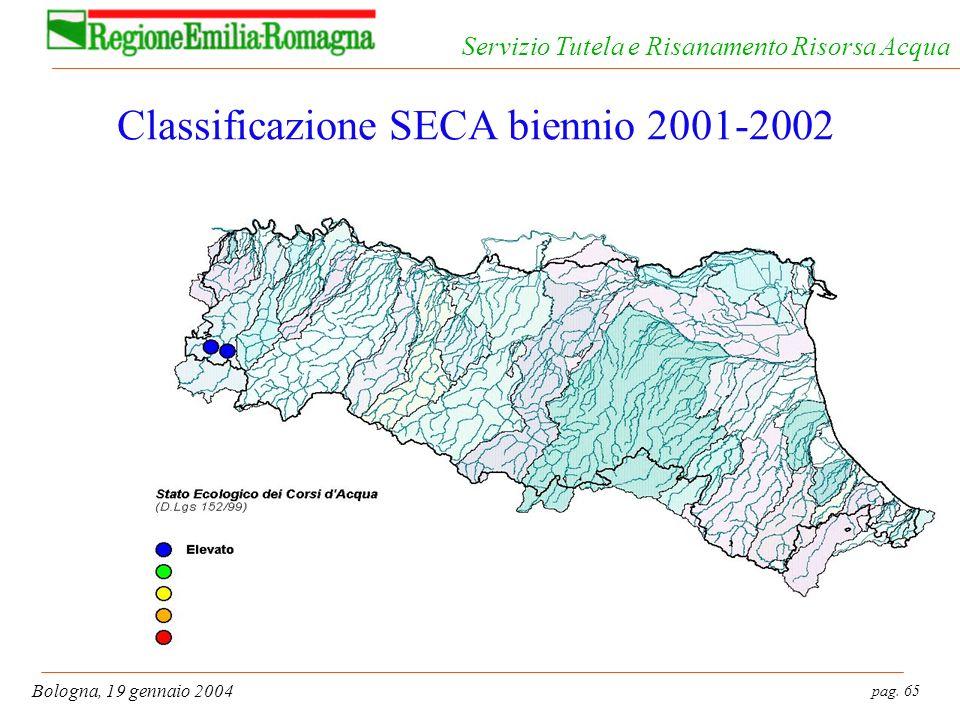 pag. 65 Bologna, 19 gennaio 2004 Servizio Tutela e Risanamento Risorsa Acqua Classificazione SECA biennio 2001-2002