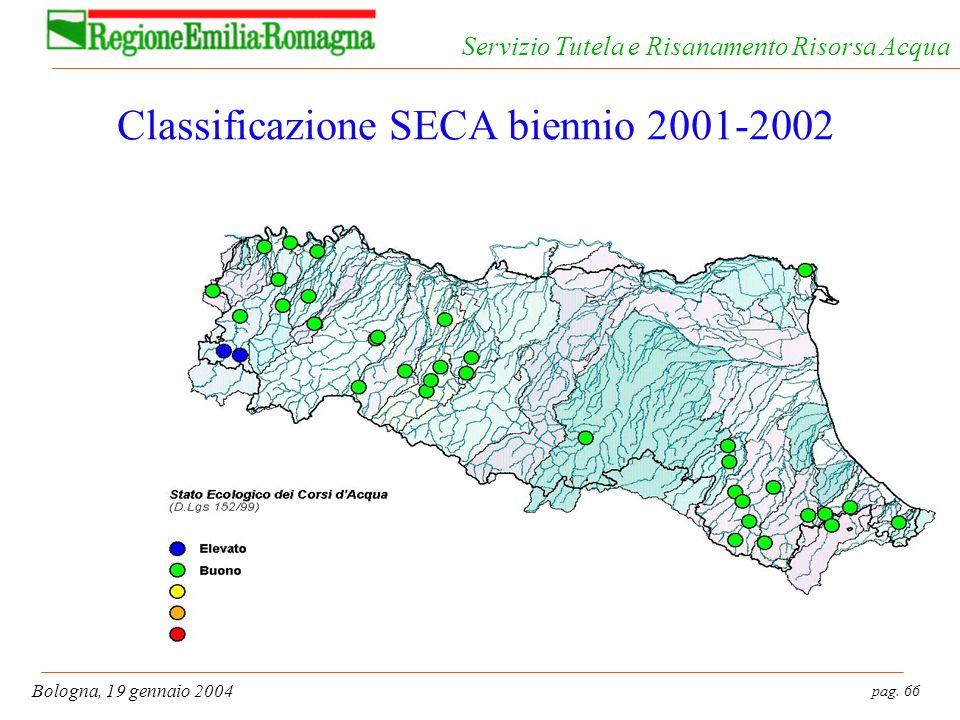 pag. 66 Bologna, 19 gennaio 2004 Servizio Tutela e Risanamento Risorsa Acqua Classificazione SECA biennio 2001-2002