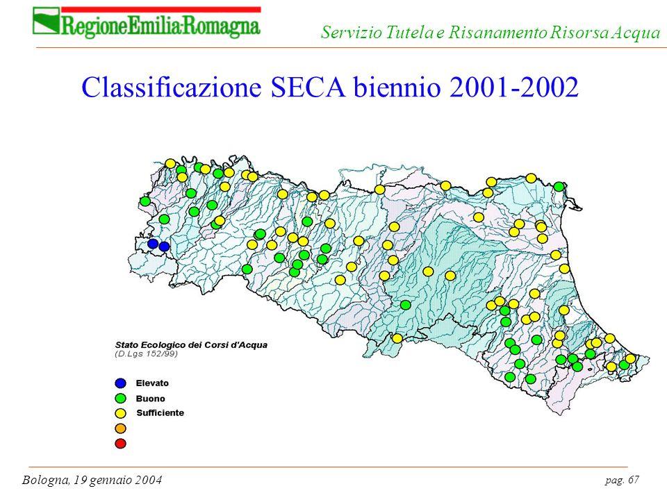 pag. 67 Bologna, 19 gennaio 2004 Servizio Tutela e Risanamento Risorsa Acqua Classificazione SECA biennio 2001-2002