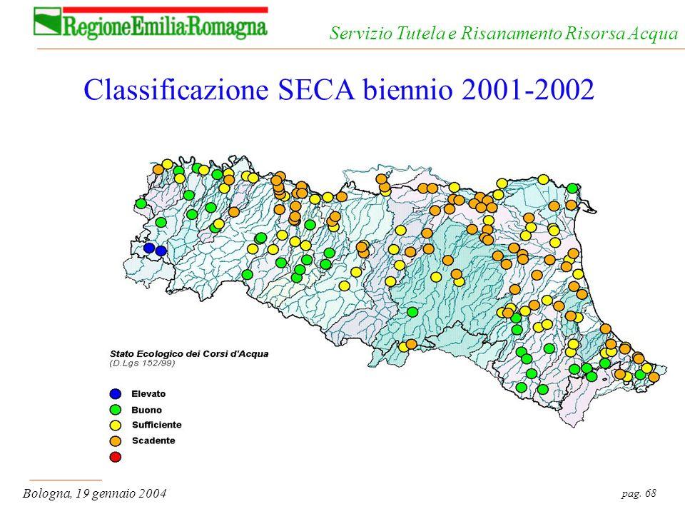 pag. 68 Bologna, 19 gennaio 2004 Servizio Tutela e Risanamento Risorsa Acqua Classificazione SECA biennio 2001-2002
