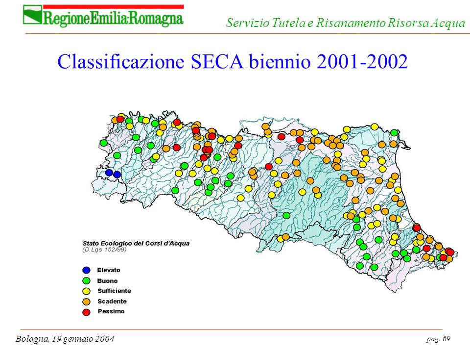 pag. 69 Bologna, 19 gennaio 2004 Servizio Tutela e Risanamento Risorsa Acqua Classificazione SECA biennio 2001-2002