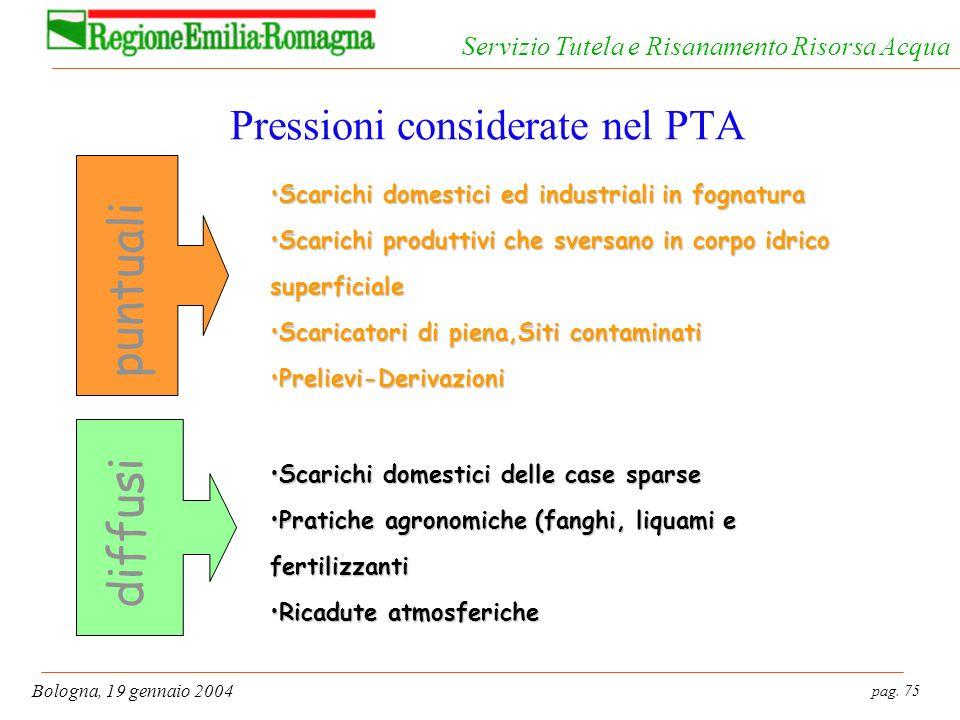 pag. 75 Bologna, 19 gennaio 2004 Servizio Tutela e Risanamento Risorsa Acqua Pressioni considerate nel PTA puntuali Scarichi domestici ed industriali