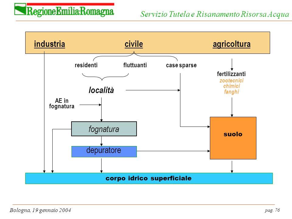 pag. 76 Bologna, 19 gennaio 2004 Servizio Tutela e Risanamento Risorsa Acqua fognatura fertilizzanti zootecnici chimici fanghi agricolturaindustria de