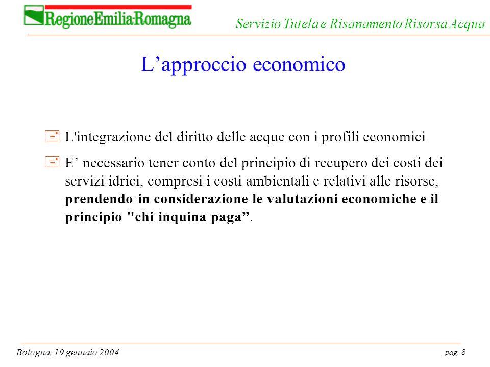 pag. 8 Bologna, 19 gennaio 2004 Servizio Tutela e Risanamento Risorsa Acqua Lapproccio economico +L'integrazione del diritto delle acque con i profili