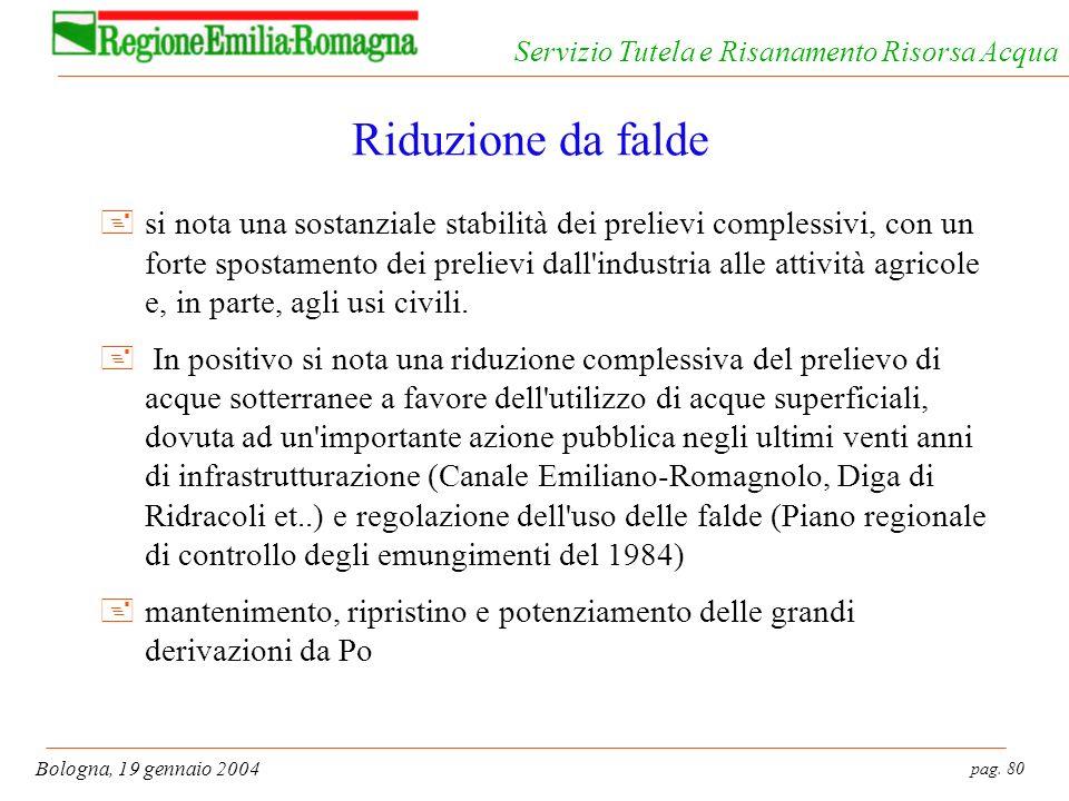 pag. 80 Bologna, 19 gennaio 2004 Servizio Tutela e Risanamento Risorsa Acqua Riduzione da falde +si nota una sostanziale stabilità dei prelievi comple