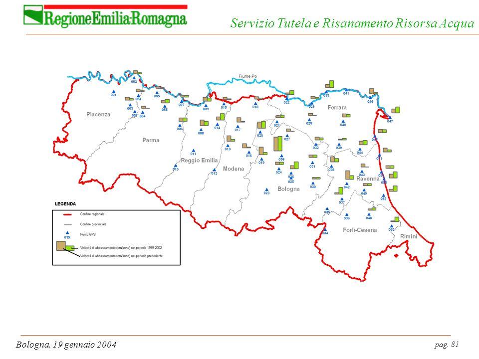 pag. 81 Bologna, 19 gennaio 2004 Servizio Tutela e Risanamento Risorsa Acqua