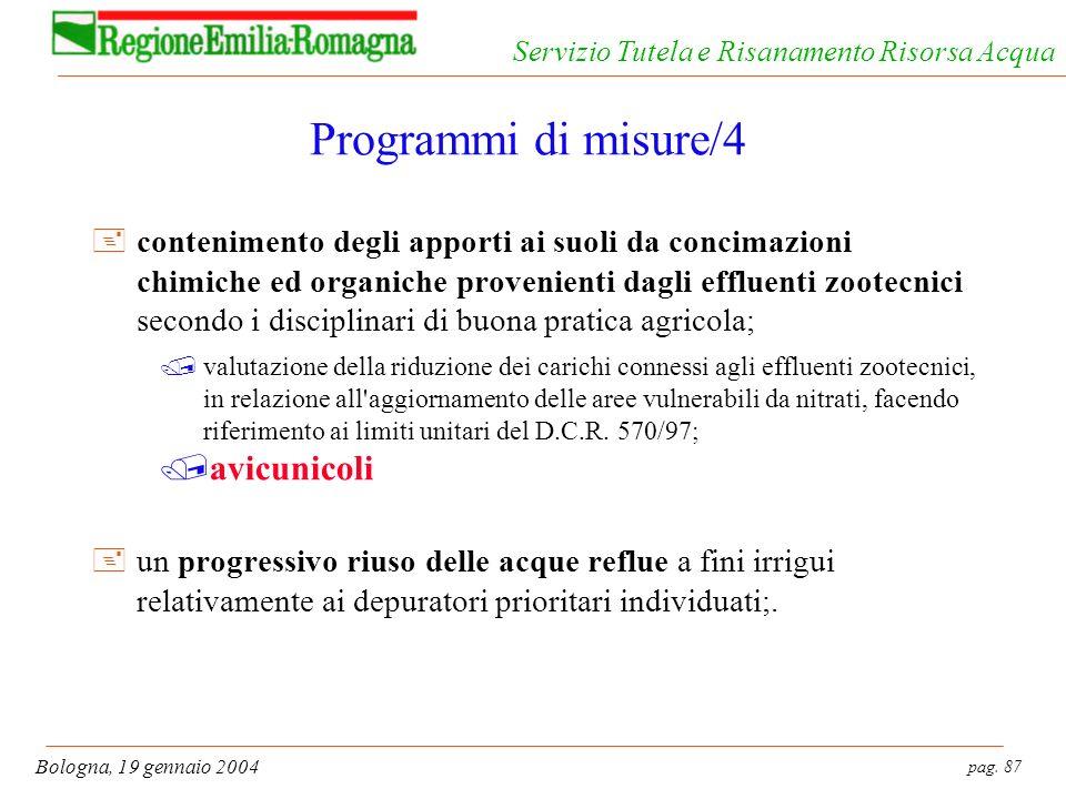 pag. 87 Bologna, 19 gennaio 2004 Servizio Tutela e Risanamento Risorsa Acqua Programmi di misure/4 +contenimento degli apporti ai suoli da concimazion