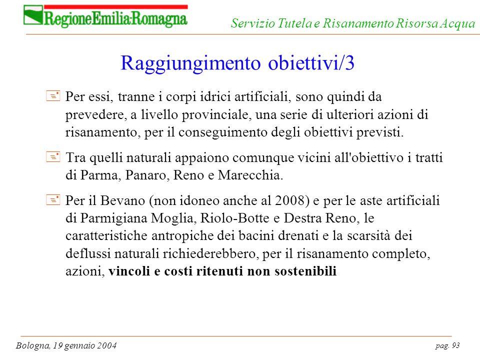 pag. 93 Bologna, 19 gennaio 2004 Servizio Tutela e Risanamento Risorsa Acqua Raggiungimento obiettivi/3 +Per essi, tranne i corpi idrici artificiali,