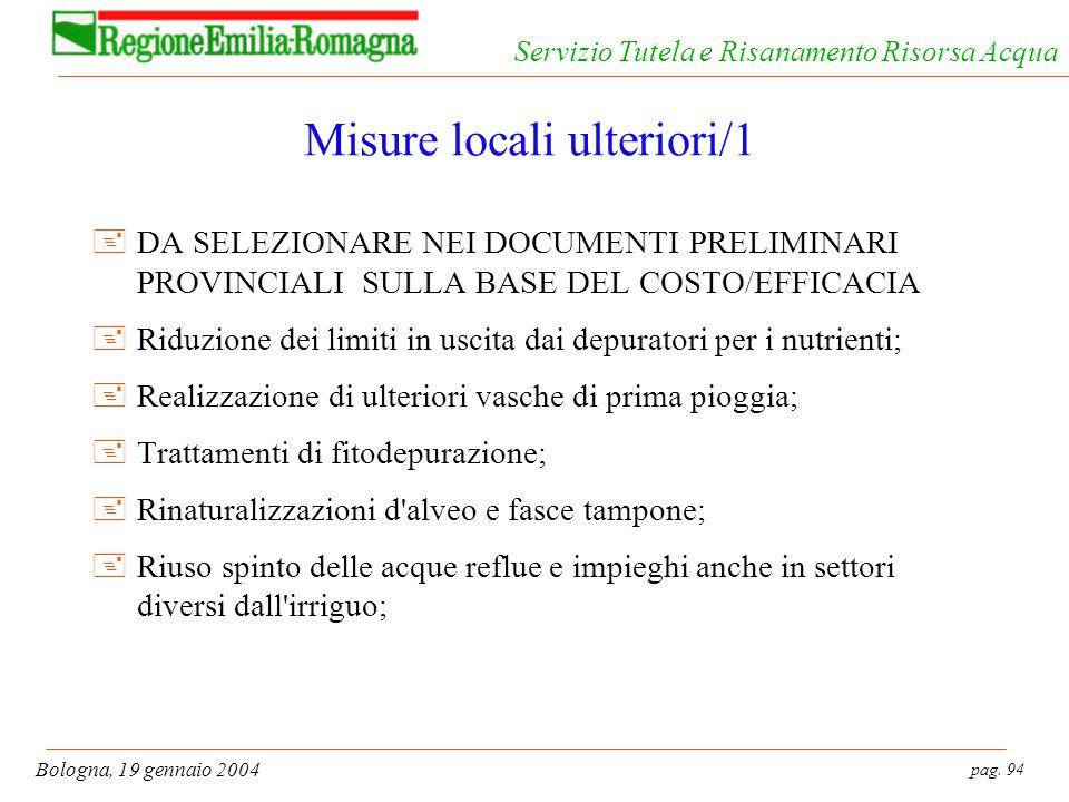 pag. 94 Bologna, 19 gennaio 2004 Servizio Tutela e Risanamento Risorsa Acqua Misure locali ulteriori/1 +DA SELEZIONARE NEI DOCUMENTI PRELIMINARI PROVI