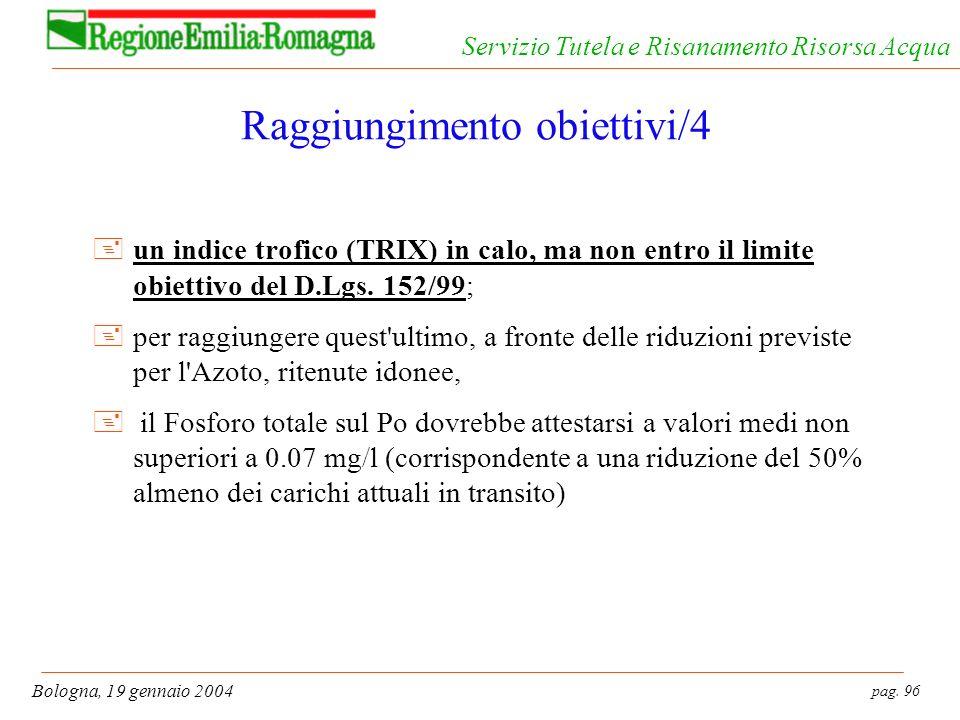 pag. 96 Bologna, 19 gennaio 2004 Servizio Tutela e Risanamento Risorsa Acqua Raggiungimento obiettivi/4 +un indice trofico (TRIX) in calo, ma non entr