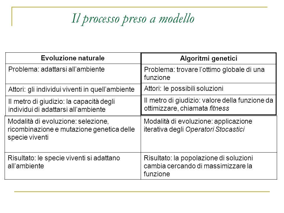 Il processo preso a modello Evoluzione naturale Problema: adattarsi allambiente Attori: gli individui viventi in quellambiente Il metro di giudizio: l