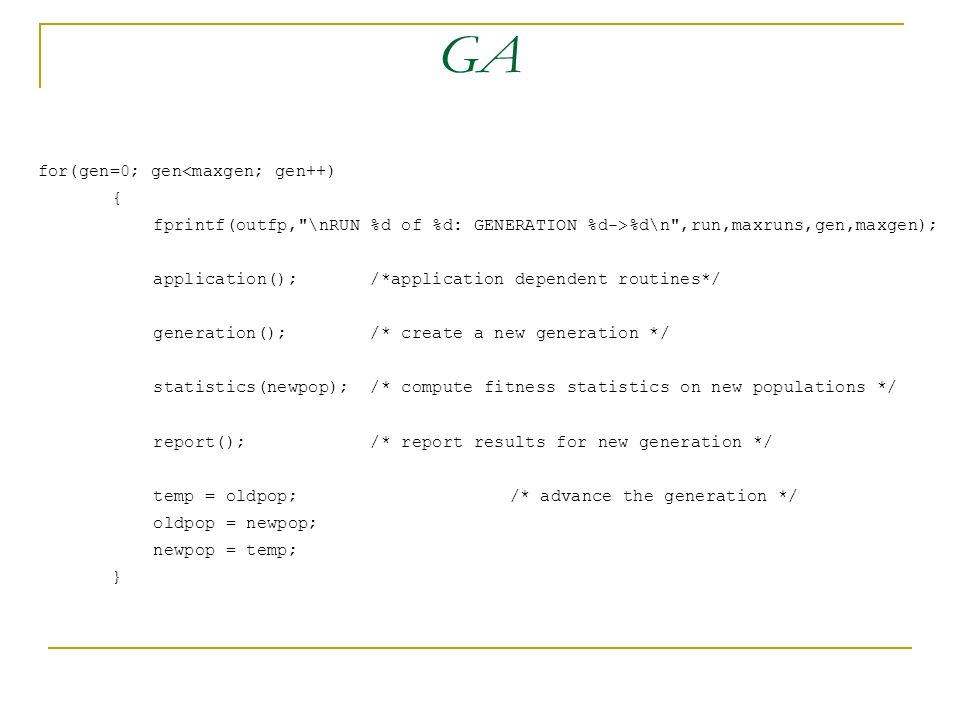 GA for(gen=0; gen<maxgen; gen++) { fprintf(outfp,