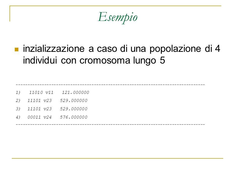 Esempio inzializzazione a caso di una popolazione di 4 individui con cromosoma lungo 5 ---------------------------------------------------------------