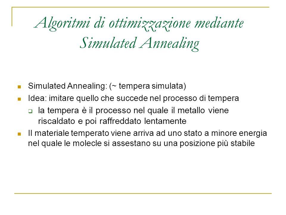 Algoritmi di ottimizzazione mediante Simulated Annealing Simulated Annealing: (~ tempera simulata) Idea: imitare quello che succede nel processo di te