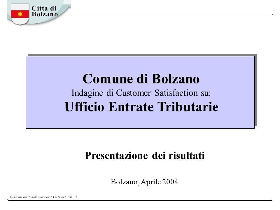 ULL Comune di Bolzano risultati CS Tributi-E44 1 Comune di Bolzano Comune di Bolzano Indagine di Customer Satisfaction su: Ufficio Entrate Tributarie Presentazione dei risultati Bolzano, Aprile 2004