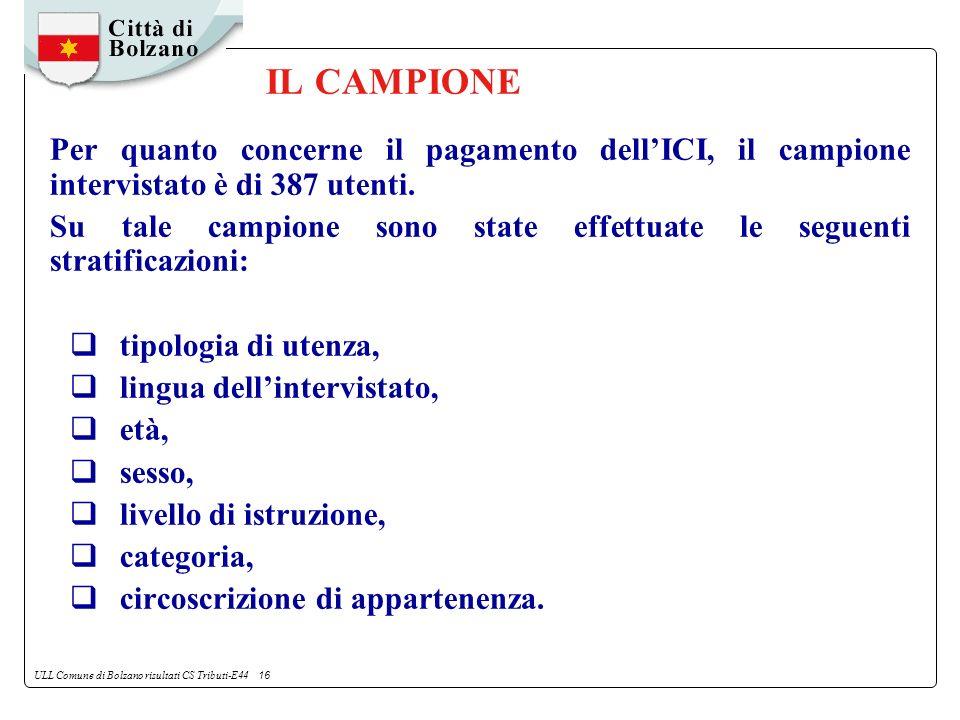 ULL Comune di Bolzano risultati CS Tributi-E44 16 IL CAMPIONE Per quanto concerne il pagamento dellICI, il campione intervistato è di 387 utenti.
