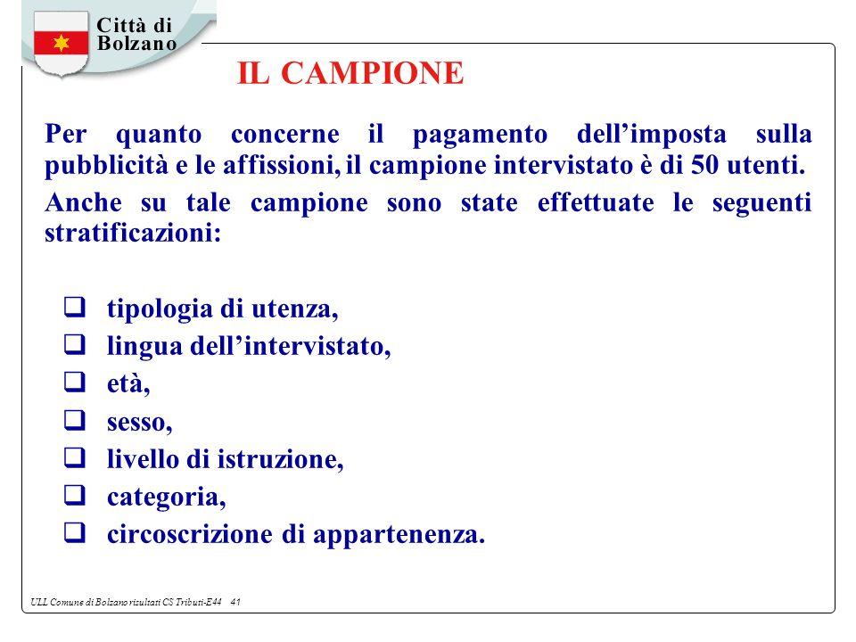ULL Comune di Bolzano risultati CS Tributi-E44 41 IL CAMPIONE Per quanto concerne il pagamento dellimposta sulla pubblicità e le affissioni, il campione intervistato è di 50 utenti.
