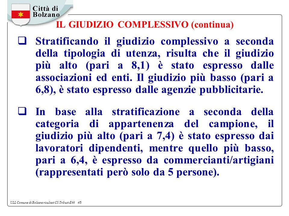 ULL Comune di Bolzano risultati CS Tributi-E44 45 IL GIUDIZIO COMPLESSIVO (continua) Stratificando il giudizio complessivo a seconda della tipologia di utenza, risulta che il giudizio più alto (pari a 8,1) è stato espresso dalle associazioni ed enti.