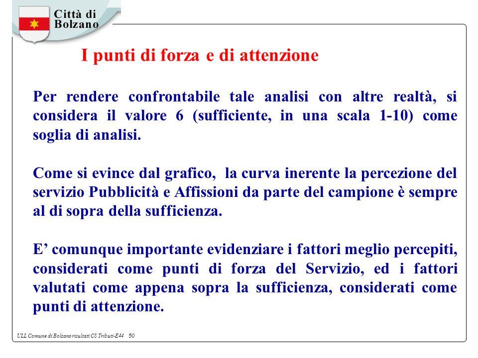 ULL Comune di Bolzano risultati CS Tributi-E44 50 Per rendere confrontabile tale analisi con altre realtà, si considera il valore 6 (sufficiente, in una scala 1-10) come soglia di analisi.