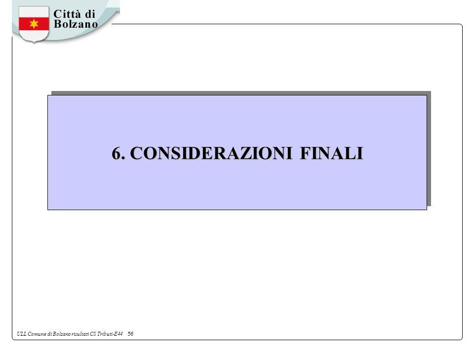 ULL Comune di Bolzano risultati CS Tributi-E44 56 6. CONSIDERAZIONI FINALI