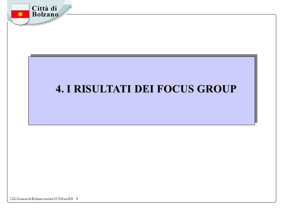ULL Comune di Bolzano risultati CS Tributi-E44 9 4. I RISULTATI DEI FOCUS GROUP
