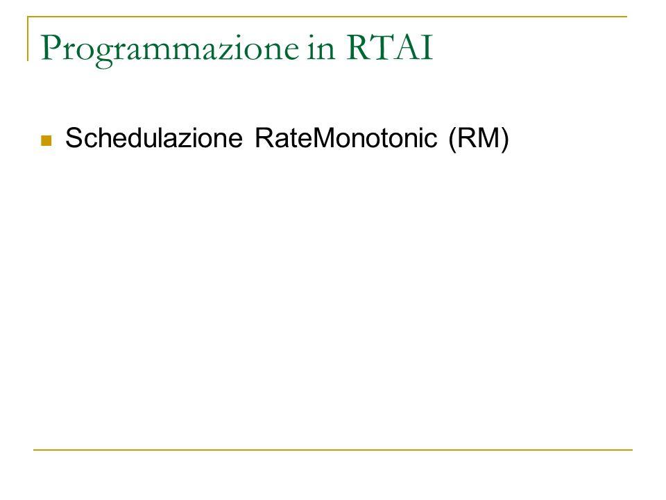 Programmazione in RTAI Schedulazione RateMonotonic (RM)
