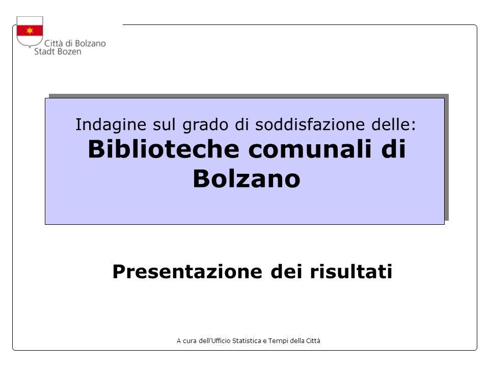 A cura dellUfficio Statistica e Tempi della Città Indagine sul grado di soddisfazione delle: Biblioteche comunali di Bolzano Presentazione dei risultati