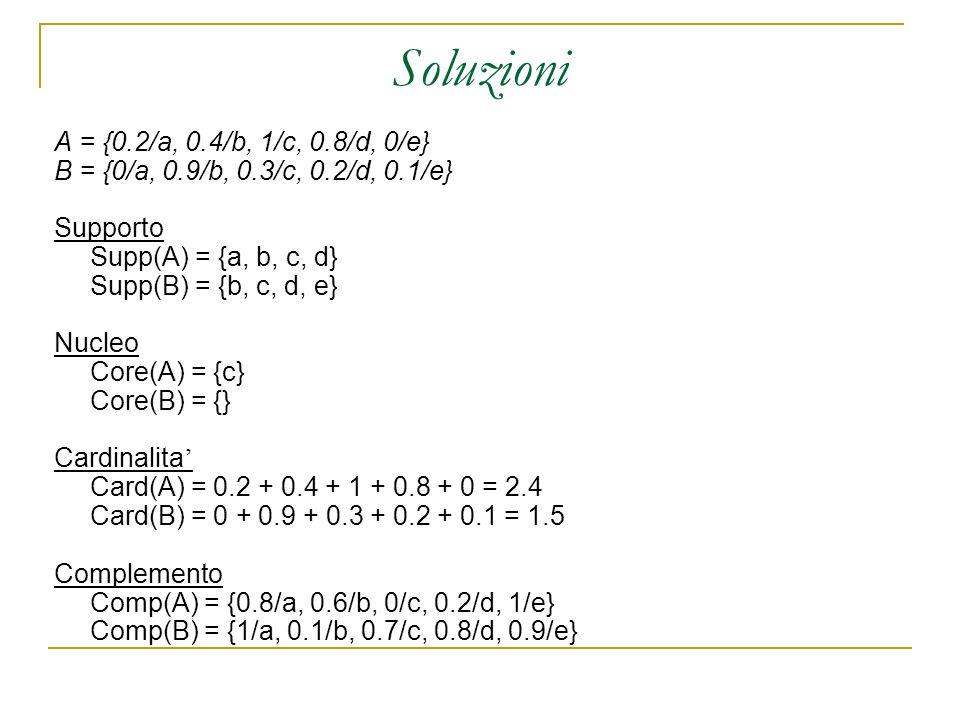 Soluzioni A = {0.2/a, 0.4/b, 1/c, 0.8/d, 0/e} B = {0/a, 0.9/b, 0.3/c, 0.2/d, 0.1/e} Supporto Supp(A) = {a, b, c, d} Supp(B) = {b, c, d, e} Nucleo Core