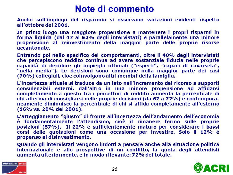 26 Note di commento Anche sullimpiego del risparmio si osservano variazioni evidenti rispetto allottobre del 2001.
