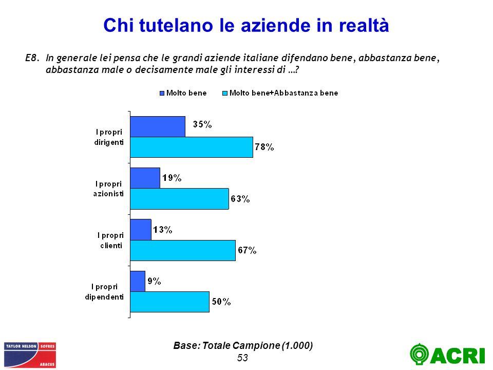 53 Chi tutelano le aziende in realtà E8.In generale lei pensa che le grandi aziende italiane difendano bene, abbastanza bene, abbastanza male o decisamente male gli interessi di ….