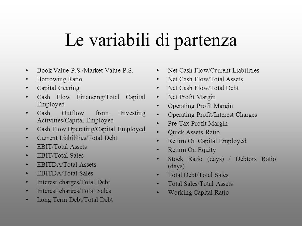 Le variabili di partenza Book Value P.S./Market Value P.S. Borrowing Ratio Capital Gearing Cash Flow Financing/Total Capital Employed Cash Outflow fro
