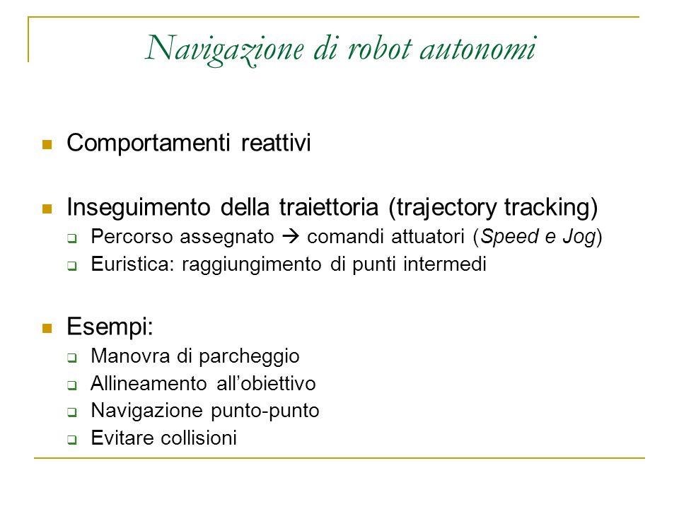Navigazione di robot autonomi Comportamenti reattivi Inseguimento della traiettoria (trajectory tracking) Percorso assegnato comandi attuatori (Speed