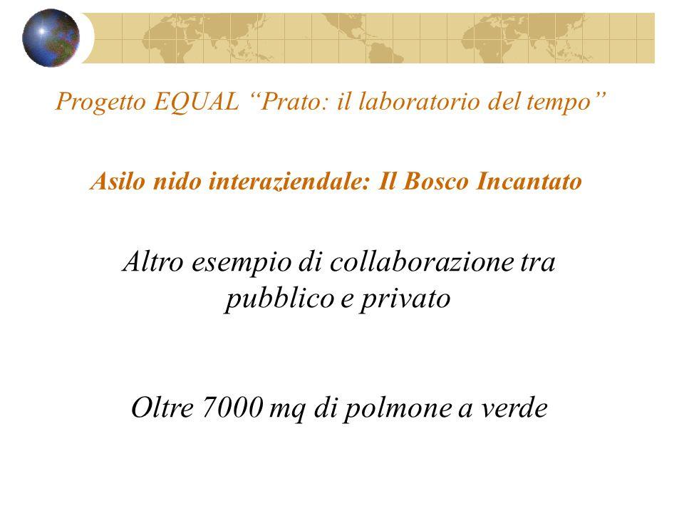 Asilo nido interaziendale: Il Bosco Incantato Altro esempio di collaborazione tra pubblico e privato Oltre 7000 mq di polmone a verde Progetto EQUAL Prato: il laboratorio del tempo