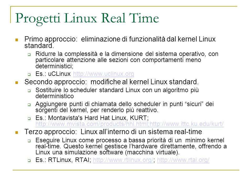 Progetti Linux Real Time Primo approccio: eliminazione di funzionalità dal kernel Linux standard. Ridurre la complessità e la dimensione del sistema o