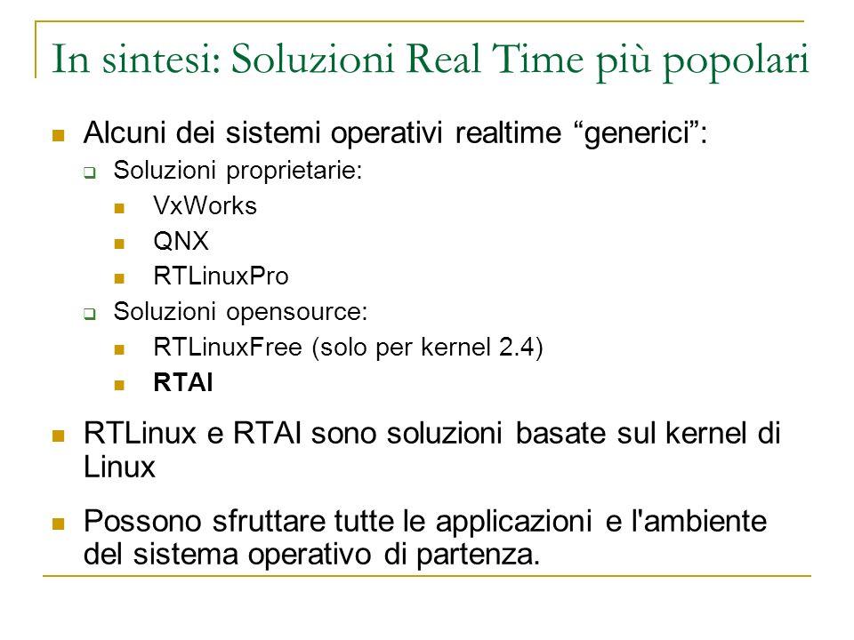In sintesi: Soluzioni Real Time più popolari Alcuni dei sistemi operativi realtime generici: Soluzioni proprietarie: VxWorks QNX RTLinuxPro Soluzioni
